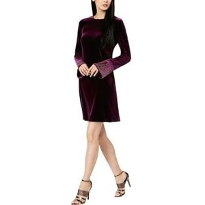 Calvin Klein Womens Velvet Embellished Party Dress